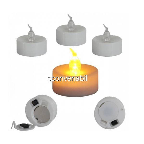 Set 24 Lumanari LED Pastila cu Baterii Lumina Alba Calda care Palpaie foto mare
