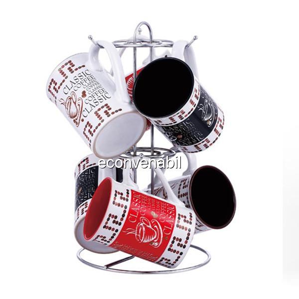 Set cani ceramica cu suport inox 7 piese VB6070068 280ml foto mare
