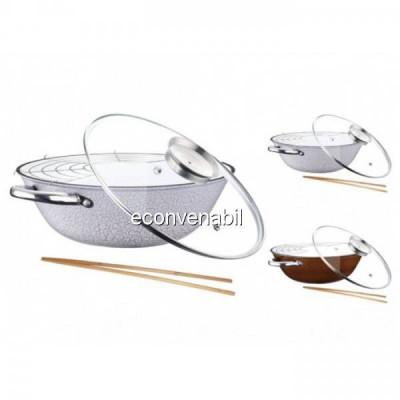 Tigaie wok fonta cu suport si capac Peterhof PH1542830 4.2L foto