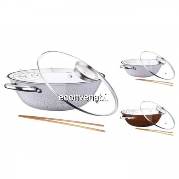 Tigaie wok fonta cu suport si capac Peterhof PH1542830 4.2L foto mare