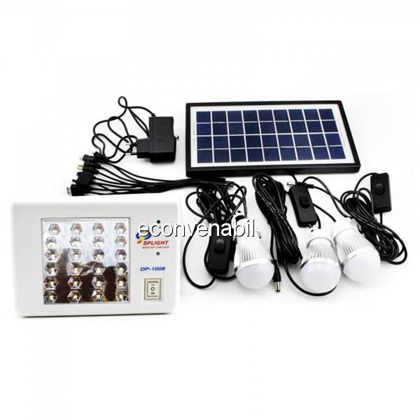 Kit Solar cu Lanterna 24LED, Slot USB si 3 Becuri 6V 4.5Ah DP1006 foto mare
