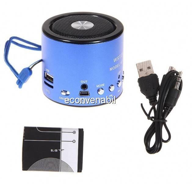 Mini Boxa Portabila MP3 Player, Radio, Slot Card, USB WSA8 foto mare