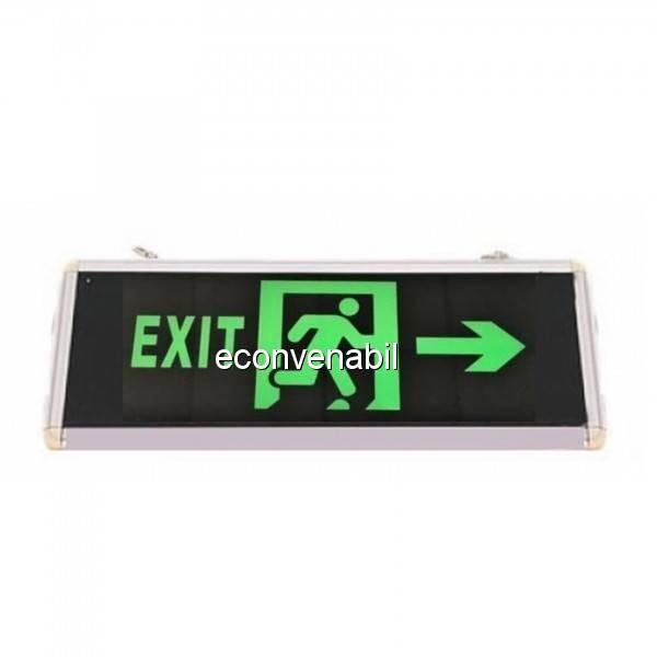 Indicator Luminos EXIT la Dreapta LED Acumulator 355x145mm 2 Fete WT foto mare