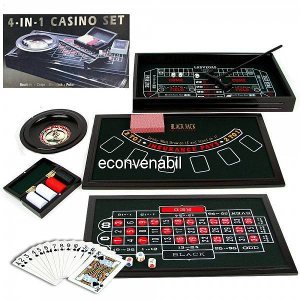 Set Casino 4 in 1 cu Poker, Black Jack, Craps si Ruleta foto mare