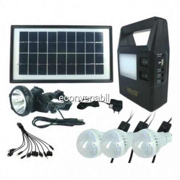Kit cu Panou Solar si USB, Lanterna si Lampi, Acumulator 6V4Ah GD8121 foto mare