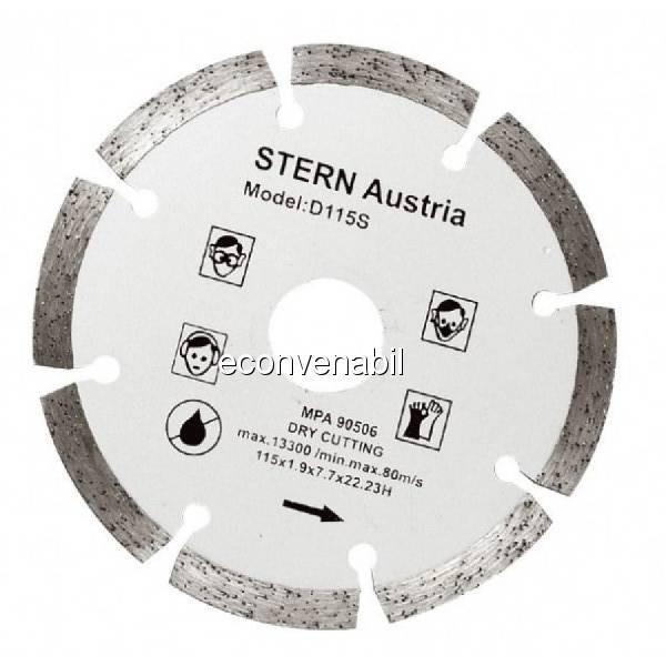 Disc Diamantat Segmentat taiere uscata Flex 115mm Stern D115S foto mare