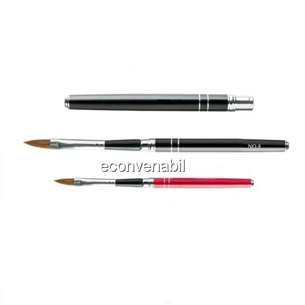 Pensula cu capac pentru Acryl nr 8 din par natural Kolinsky foto mare