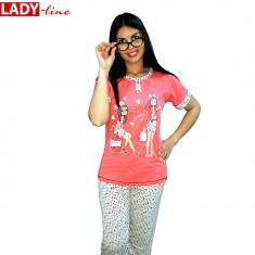 Pijama Dama Maneca Scurta/Pantalon 3/4, Model I Love Fashion,Bumbac 100%, Cod 83