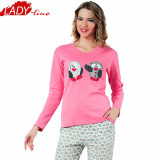 Pijama Dama Maneca/Pantalon Lung, Bumbac Interlock, Model Penguins, Cod 1115, L, XL, Roz