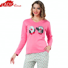 Pijama Dama Maneca/Pantalon Lung, Bumbac Interlock, Model Penguins, Cod 1115