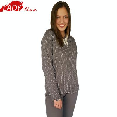 Pijama Dama Maneca/Pantalon Lung,Bumbac Interlock,Model Inocent&Beauty, Cod 1051 foto