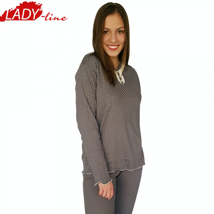 Pijama Dama Maneca/Pantalon Lung,Bumbac Interlock,Model Inocent&Beauty, Cod 1051