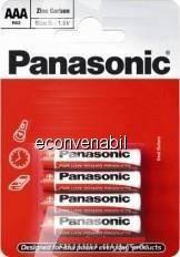 Panasonic baterii r03 aaa zinc carbon 4 buc la blister foto