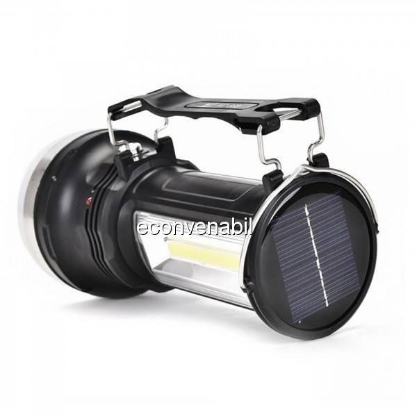 Lanterna LED 1W+3W COB LED Acumulator Incarcare Solara si 220V KC668 foto mare