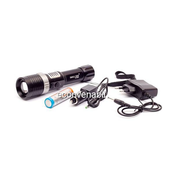 Lanterna LED 3W Zoom cu Acumulator si Alarma ZYR851 foto mare