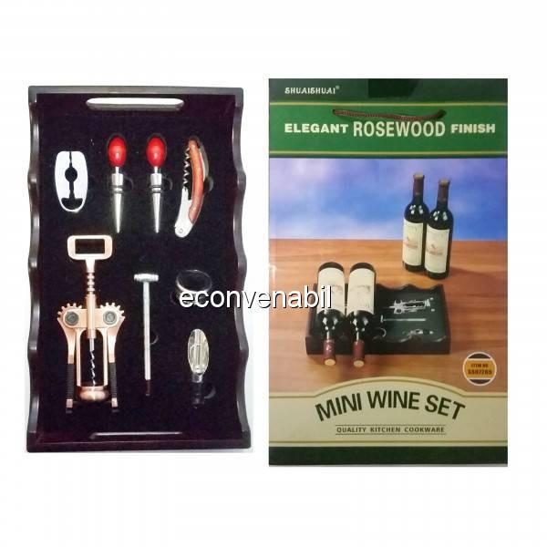 Suport Lemn cu Accesorii pentru Sticle de Vin SS07265 foto mare