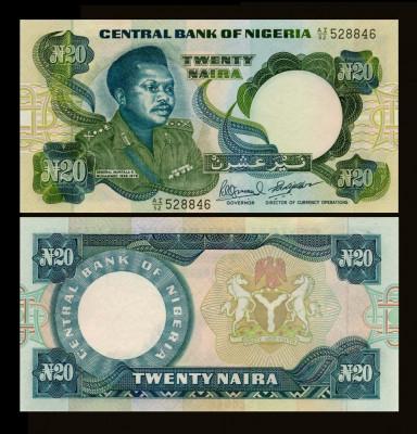 Nigeria 1983 - 20 naira UNC foto