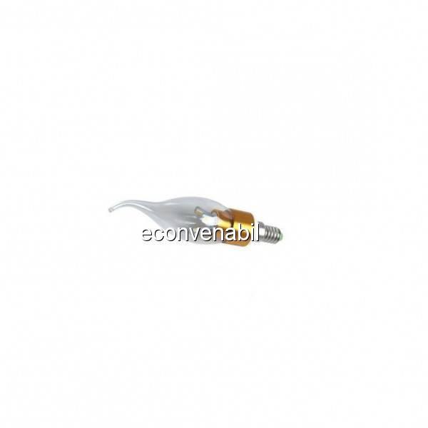 Bec Led Tip Lumanare LED SMD 7W Alb Cald Soclu Auriu E14 foto mare