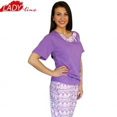 Pijama Dama Maneca Scurta/Pantalon 3/4,Model Peacock Purple, Brand Baki, Cod 397