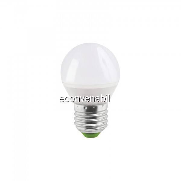 Bec LED G45 5W Alb Rece 6400K soclu E27 220V Glob Mat UB60071 foto mare