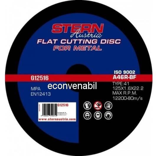 Disc abraziv pentru polizor unghiular 125x1.6mm Stern G12516 foto mare