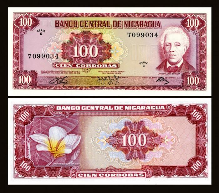 Nicaragua 1972 - 100 cordobas UNC foto mare