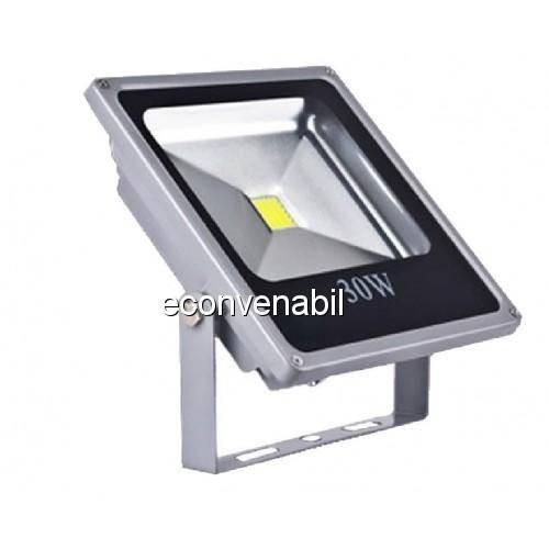 Proiector LED 30W Metalic Slim Alb Rece 220V foto mare
