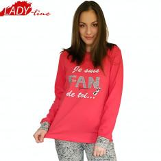 Pijama Dama Maneca/Pantalon Lung, Model Fan Glam De Toi, Bumbac Interlock, Cod 1058 - Pijamale dama, Marime: S, M, L, XL, Culoare: Rosu