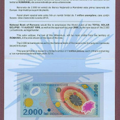 2000 LEI 1999 ECLIPSA IN FOLDER BNR UNC - Bancnota romaneasca