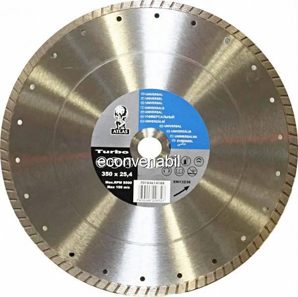 Disc debitat materiale constructie diamantat Atlas Turbo 350x25.40mm foto mare