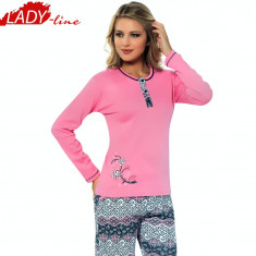 Pijama Dama Maneca/Pantalon Lung, Bumbac Interlock, Model Happy SPring, Cod 1114