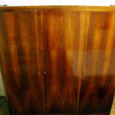 Dulap haine 3 usi 178x60x184cm, rama lemn, panel, furnir, unicat 1965 - Dormitor complet