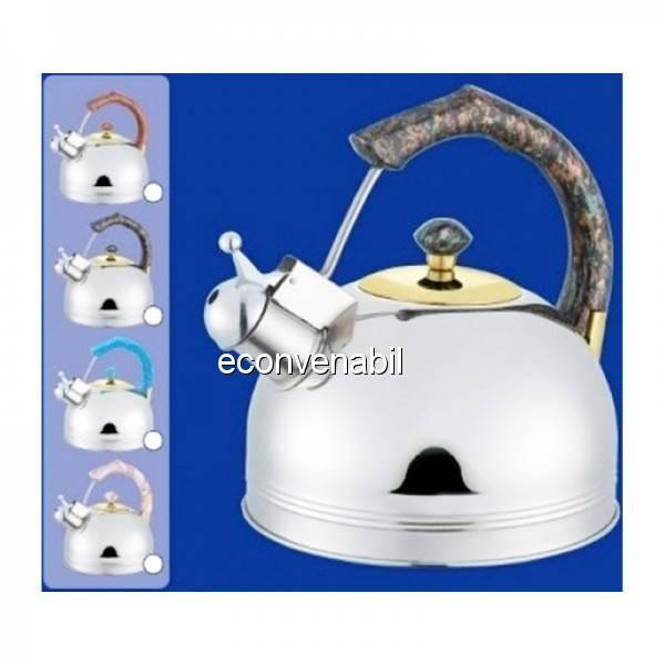 Ceainic din inox cu fluier Bohmann BHL655MRB 3L foto mare
