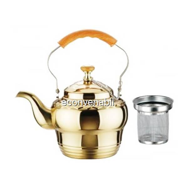 Ceainic din inox auriu cu sita BH9616 1L foto mare