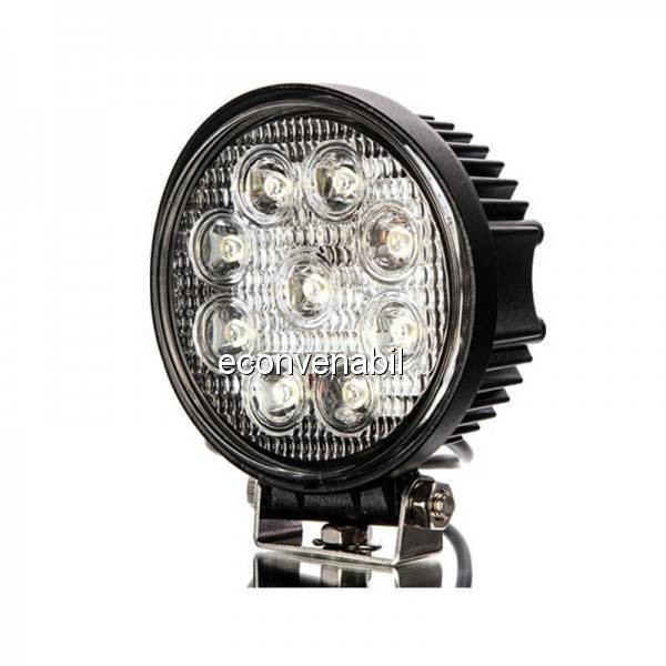 Proiector LED Auto Offroad 9 LEDuri 27W 12V/24V Rotund foto mare