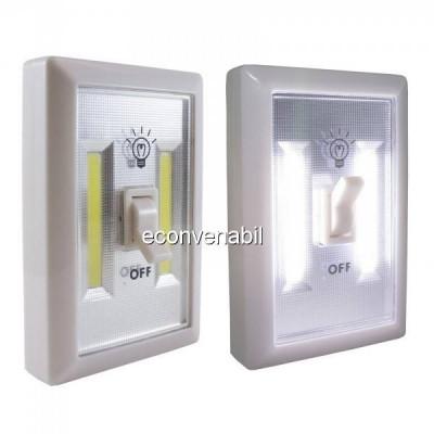 Lanterna 2x 1W COB LED tip Intrerupator Fara Fir pe Baterii SXA01 foto