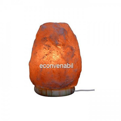 Lampa de Sare Himalaya 15cm cu Suport Marmura 220V foto