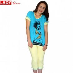Pijama Dama Maneca Scurt/Pantalon 3/4, Model Rock Star, Bumbac 100%, Cod 115