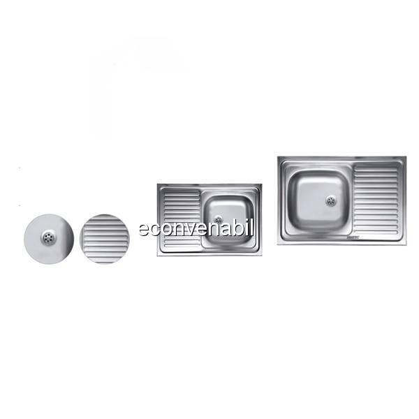 Chiuveta Inox 430 masca anticalcar Sanitec C408 435x760mm foto mare