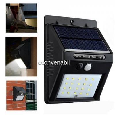 Lampa 20LED Incarcare Solara cu Senzor de Miscare si Lumina, On/Off foto