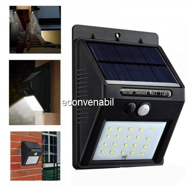 Lampa 20LED Incarcare Solara cu Senzor de Miscare si Lumina, On/Off foto mare