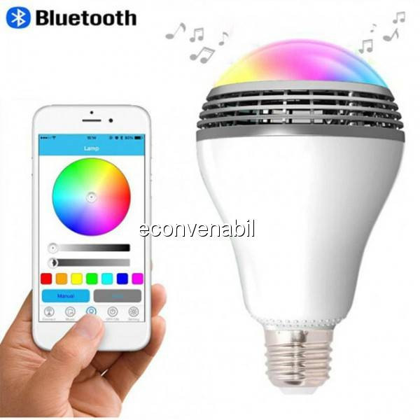 Bec cu Bluetooth LED 6W Multicolor Boxa Portabila MP3 3W Android foto mare