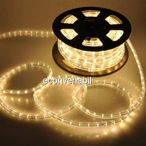 Furtun Luminos 100m 2600 LEDuri Alb Cald CL foto mare
