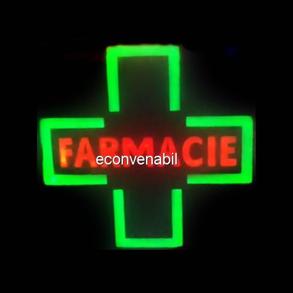 Reclama Luminoasa cu LEDuri tip Caseta Neon Cruce Farmacie 48x48cm foto mare