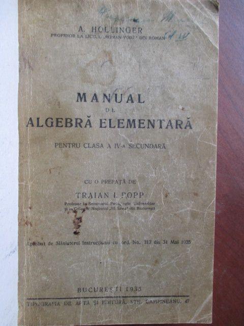 Manual de algebra elementara pentru clasa a IV-a secundara foto mare