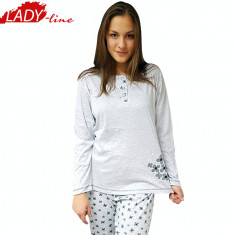 Pijama Dama Maneca/Pantalon Lung, Bumbac, Model Gray&Bright Flowers, Cod 1086