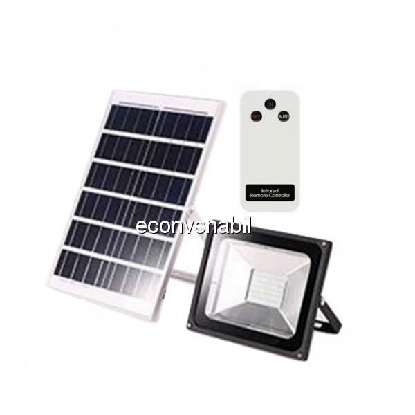 Proiector LED 50W cu Panou Solar si Telecomanda Alb Rece foto mare