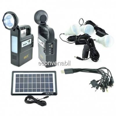 Kit Incarcator Urgente cu Panou Solar Lanterna Radio FM USB MP3 GD8133 foto