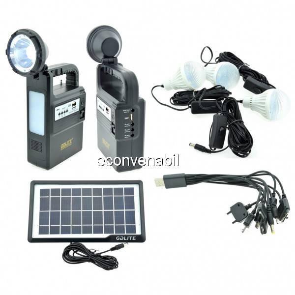 Kit Incarcator Urgente cu Panou Solar Lanterna Radio FM USB MP3 GD8133 foto mare