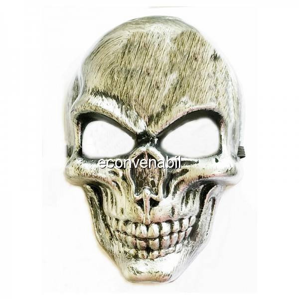 Masca de Halloween si Carnaval Argintie Aspect Metalic foto mare